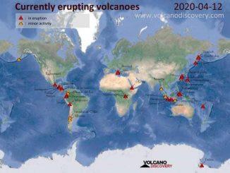 Eruzioni attive nel mondo